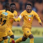 Dumsani Zuma celebrates his goal with Khama Billiat