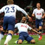 Lucas Moura celebrates his scoring against Manchester United in their Premier League clash at Old Trafford.