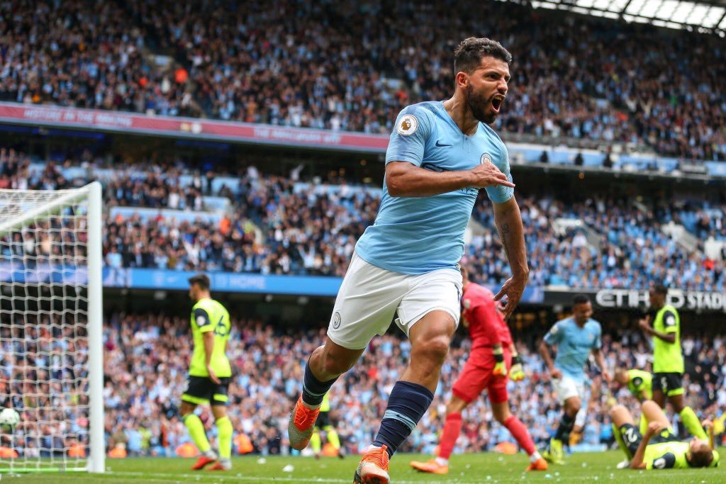 Sergio Aguero celebrates his goal against Huddersfield Town in the Premier League encounter.