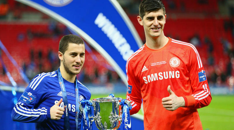 Eden Hazard and Thibaut Courtois of Chelsea.