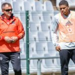 Orlando Pirates defender Caio Marcelo and coach Milutin Sredojevic.
