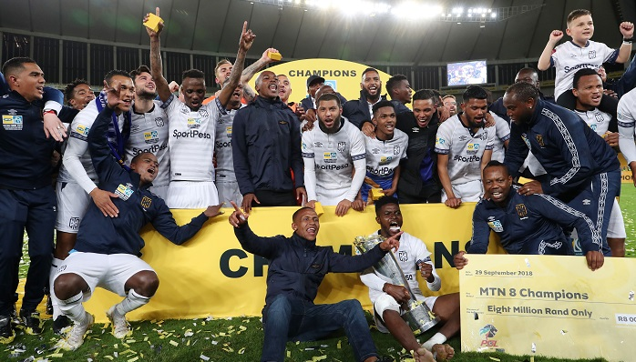 Cape Town City celebrates winning the MTN8.