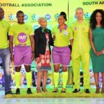 Match officials, Safa executives, and OUTsurance representative at the sponsorship launch.
