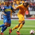 Lebogang Manyama of Kaizer Chiefs evades challenge from Surprise Ralani of Cape Town City.