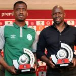 Alfred Ndengane and Steve Komphela of Bloemfontein Celtic.