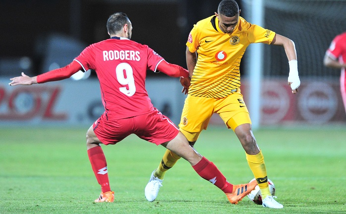 Mario Booysen of Kaizer Chiefs challenged by Eleazar Rodgers of Free State Stars.