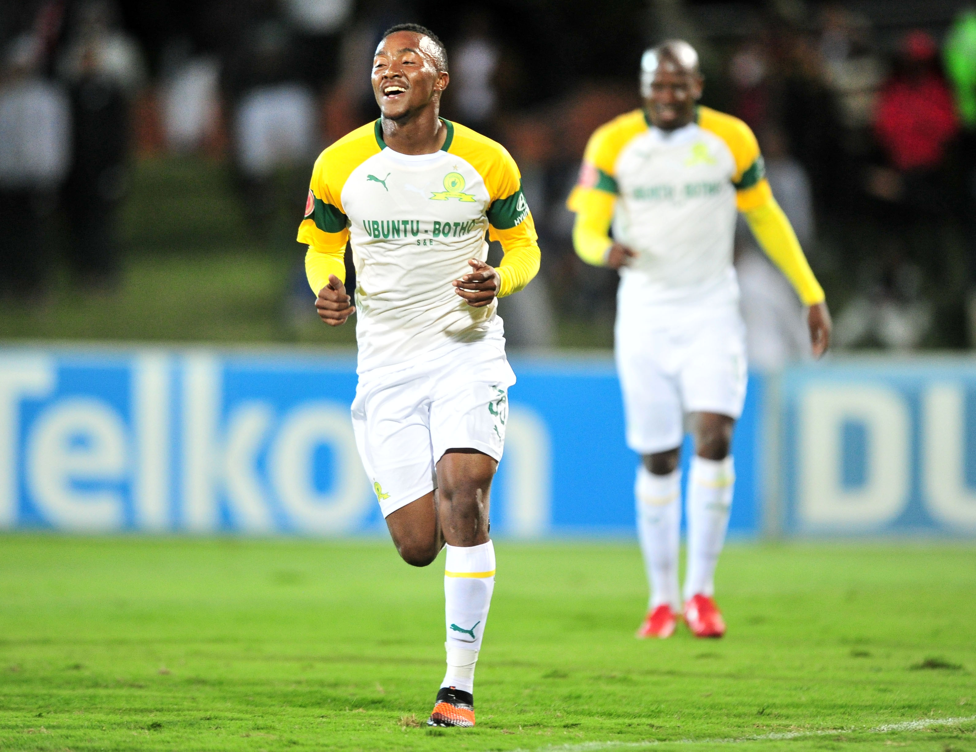 Lebohang Maboe celebrates his goal against Golden Arrows