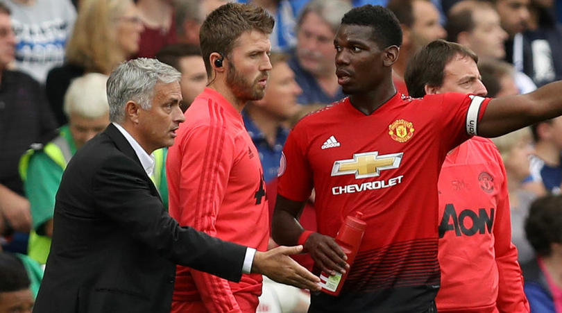 Jose Mourinho and Paul Pogba of Manchester United.