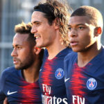 Paris Saint-Germain's Neymar, Kylian Mbappe and Edinson Cavani.