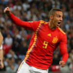 Rodrigo of Spain scoring his side's winner against England.