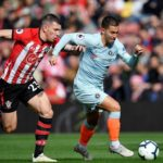 Eden Hazard of Chelsea evades a challenge from Southampton's Pierre-Emile Hojbjerg.