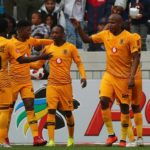 Khama Billiat and Lebogang Manyama celebrate with their Kaizer Chiefs teammates