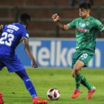 Emiliano Tade of AmaZulu FC challenged by Mpho Matsi of Cape Town City FC