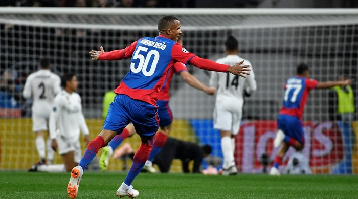 CSKA Moscow player celebrate the winning goal against Real Madrid.