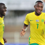 Lebohang Maboe celebrates goal with Aubrey Modiba