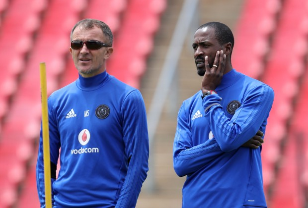 Orlando Pirates coach Milutin Sredojevic and assistant coach Rulani Mokwena