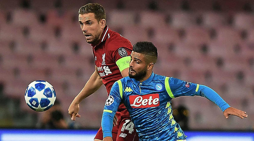 Lorenzo Insigne of Napoli and Jordan Henderson of Liverpool.
