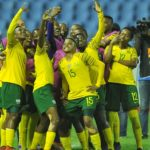 Thembi Kgatlana of Banyana Banyana celebrates with her teammates