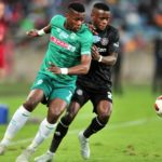 Bongi Ntuli of AmaZulu challenged by Innocent Maela of Orlando Pirates