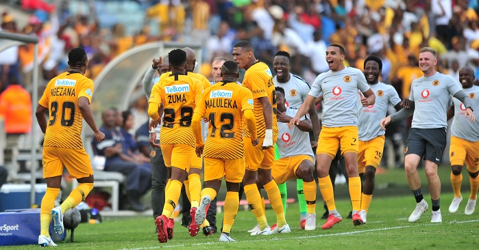 Ramahlwe Mphahlele of Kaizer Chiefs celebrates the winning goal with his teammates