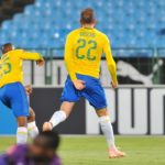 Jeremy Brockie of Mamelodi Sundowns celebrates breaking his goal drought