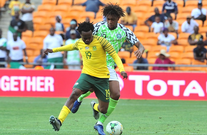 Percy Tau of Bafana Bafana and Alex Iwobi of Nigeria