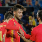 Brais Mendez of Spain celebrates his debut goal