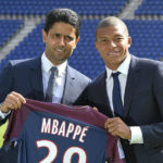 Paris Saint-Germain president Nasser Al-Khelaifi and forward Kylian Mbappe.