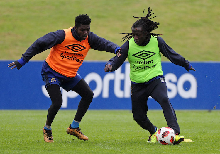 Allan Kateregga of Cape Town City evades challenge from Kouassi Kouadja of Cape Town City during the 2018 MTN 8 Cape Town City FC Media Open Day at Hartleyvale, Cape Town on 25 September 2018