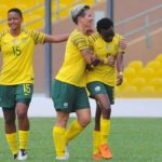 Thembi Kgatlana and Janine Van Wyk of Banyana Banyana