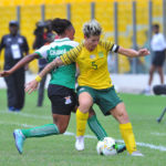 Janine Van Wyk of South Africa challenges Helen Chanda of Zambia during the 2018 TOTAL African Womens Cup of Nations match between South Africa and Zambia on the 24 November 2018 at Accra Sports Stadium, Ghana / Pic Sydney Mahlangu/BackpagePix