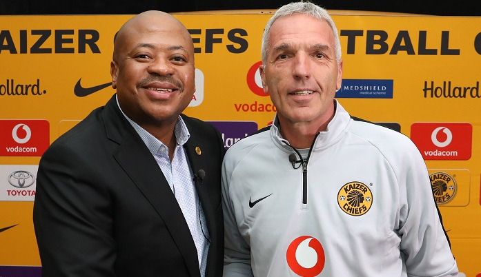 Ernst Middendorp, coach of Kaizer Chiefs with Bobby Motaung