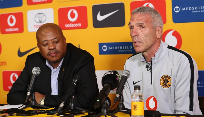 Ernst Middendorp, coach of Kaizer Chiefs with Football Manager Bobby Motaung