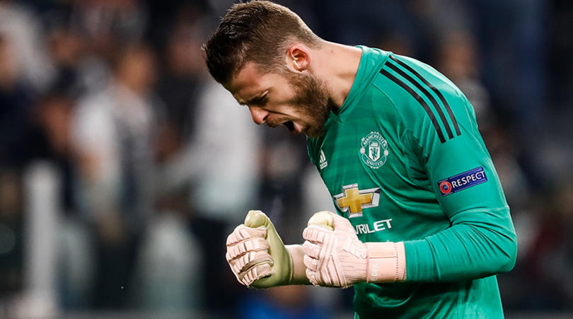 David de Gea of Manchester United celebrates a goal during the Group H match of the UEFA Champions League between Juventus FC and Manchester United FC on November 7, 2018 at Juventus Stadium in Turin, Italy. (Photo by Mike Kireev/NurPhoto/Sipa USA)