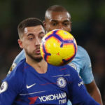 Eden Hazard of Chelsea and Fernandinho of Manchester City