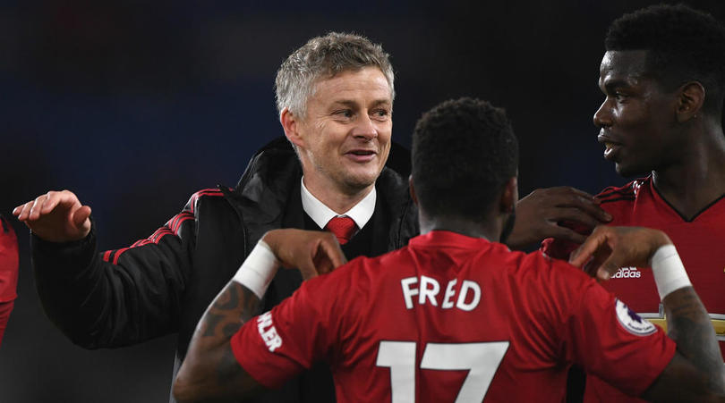 Manchester United's Ole Gunnar Solskjaer, Fred and Paul Pogba